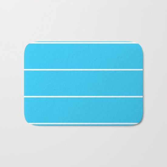 Aqua Teal- Maritime Aqua Teal Stripes Pattern 1 - Mix & Match Bath Mat