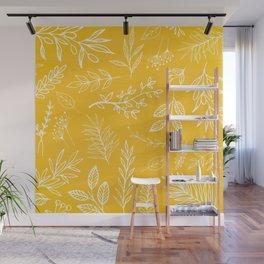Golden Nature / hand drawn herbs Wall Mural