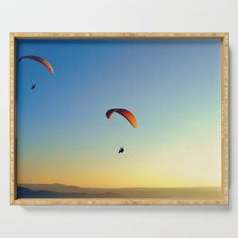 two paragliders in the sky Serving Tray