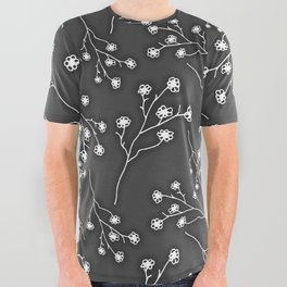 Baby's Breath Flower Pattern - Black All Over Graphic Tee