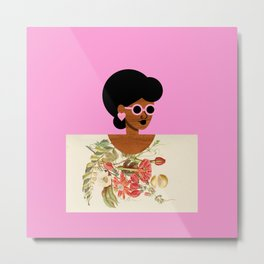 Pink Sunglasses Girl Metal Print