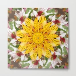 K137 Yellow Flower Kaleidoscope Metal Print