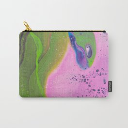 Fluid Art Acrylic Painting, Pour 30, Pink, Green & Purple White Blended Color Carry-All Pouch