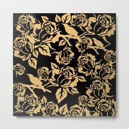 Gold Rose Pattern on Black Metal Print