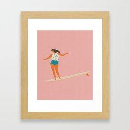 Surf girl print Framed Art Print
