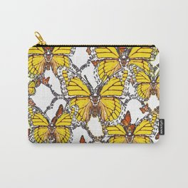 ABSTRACT LACEY PATTERN MONARCH BUTTERFLIES DESIGN Carry-All Pouch