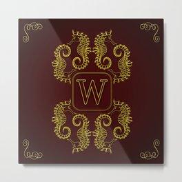 Letter W seahorse monogram Metal Print