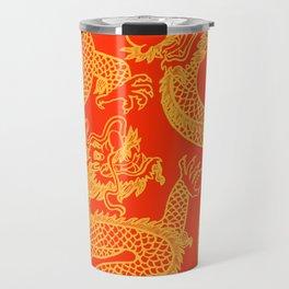 Red and Gold Battling Dragons Travel Mug