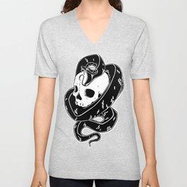 Snake and Skull Tattoo Flash Unisex V-Neck