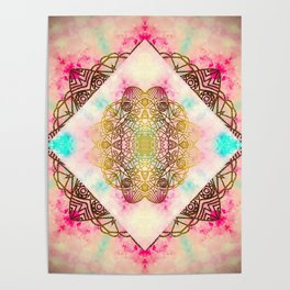 Vintage decorative Gold Turquoise Pink Pattern Poster