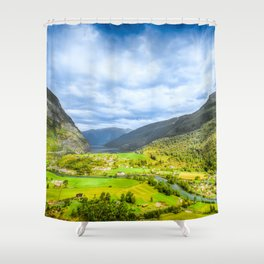 Small Village within mountains Shower Curtain