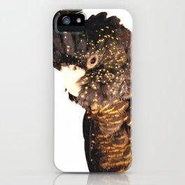 Black cockatoo illustration iPhone Case