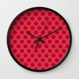 Red polka dots Wall Clock