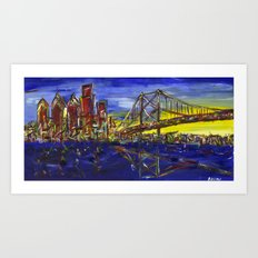 Philly Skyline with Ben Franklin Bridge Art Print