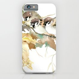 Sparrows and Fall Tree, three birds, brown green fall colors iPhone Case