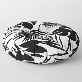 Black N White Monstera And Palm Leaves Floor Pillow