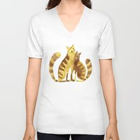 cats V-neck T-shirts featuring Cats by Anna Shell