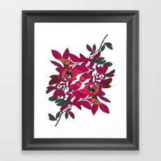 Blueberry branch - Pink Framed Art Print