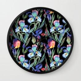 Modern elegant colorful watercolor irises floral pattern Wall Clock