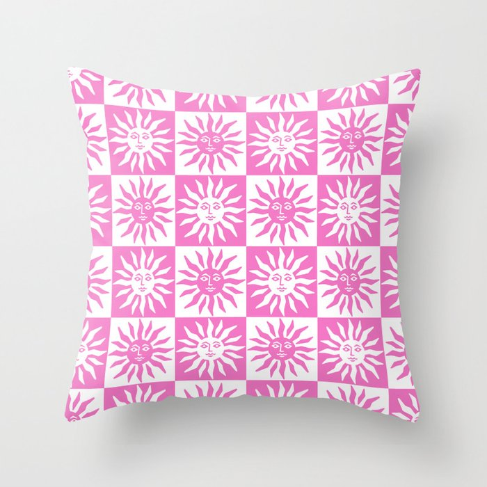 Mid Century Modern Sun Pattern Pink Throw Pillow
