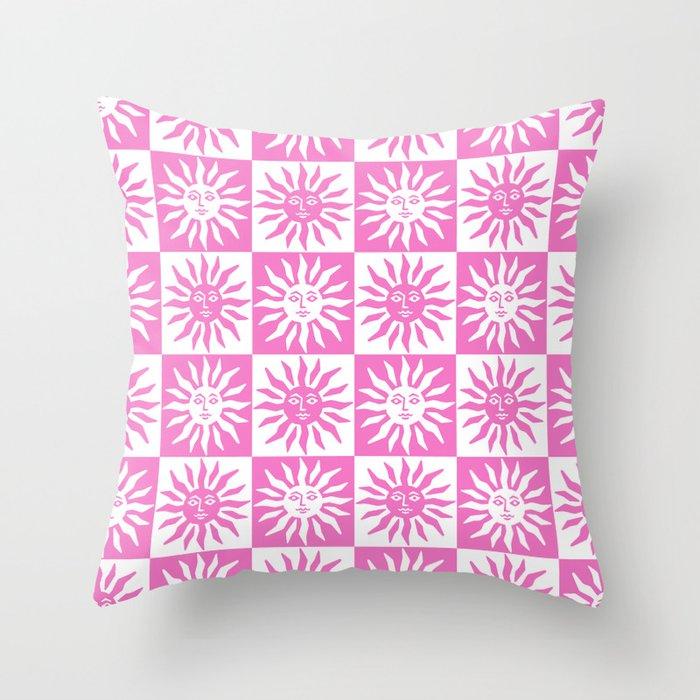 Mid Century Modern Sun Pattern Pink Throw Pillow