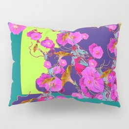 Pink Morning Glories on TEAL Art  LIME Design Pillow Sham