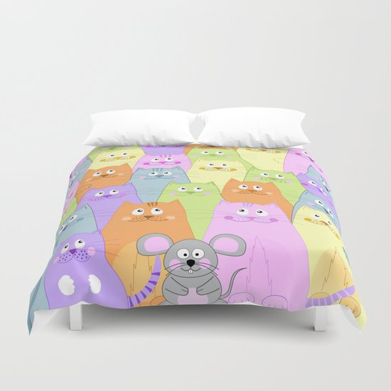 Meet my friends (cats and mouse design) Duvet Cover