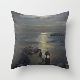 Plymouth Sound by Moonlight and Searchlight coastal nautical landscape painting by Julius Olsson Throw Pillow
