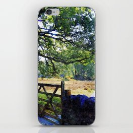 5 barred Gate and Oak in the Park, Lake District, UK. Watercolour Art. iPhone Skin