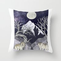 guardians Throw Pillows featuring Guardians by Yoly B. / Faythsrequiem