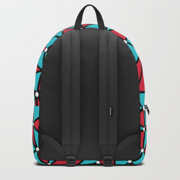 African Triangles Red and Blue Backpack
