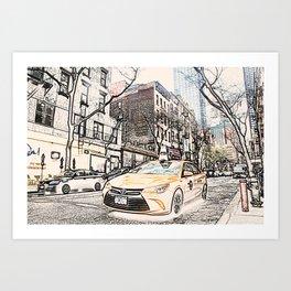 Taxi New York City Usa Street ArtWork Painting Art Print