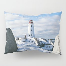 Peggy's Cove Lighthouse in winter Pillow Sham