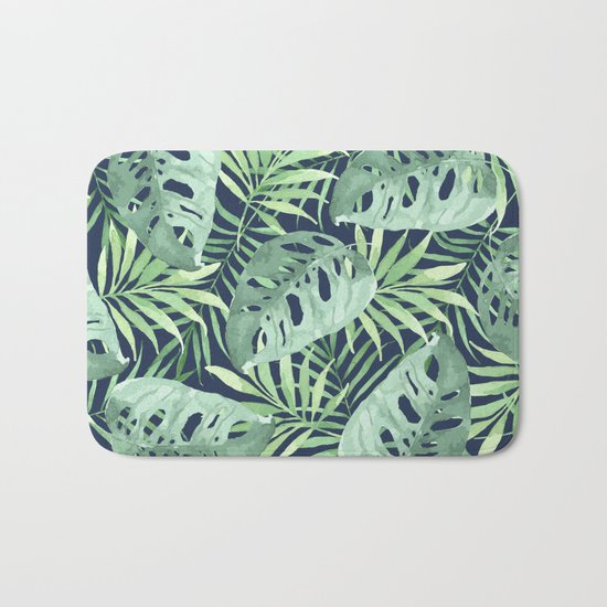 Tropical Branches on Dark Pattern 03 Bath Mat