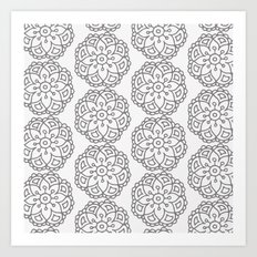 Silver grey lace floral Art Print