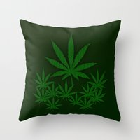 weed Throw Pillows featuring Weed by Leatherwood Design