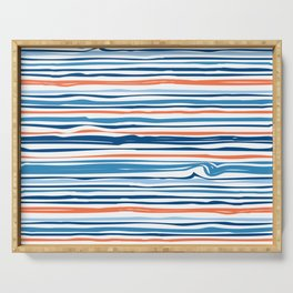 Modern Abstract Ocean Wave Stripes in Classic Blues and Orange Serving Tray