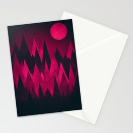 Dark Triangles (Peak Woods) Abstract Grunge Mountains Design (red/black) Stationery Cards