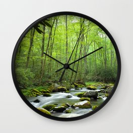 Spring Forest Stream Wall Clock