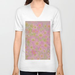 Pink Floral, The Earth Laughs In Flowers Unisex V-Neck