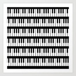 Black And White Piano Keys Pattern Art Print