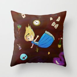Alice in Wonderland falling through rabbit hole Throw Pillow