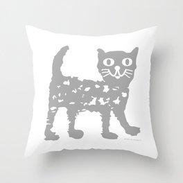 Gray cat pattern Throw Pillow