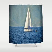 sailboat Shower Curtains featuring Sailboat by Joe Mullikin