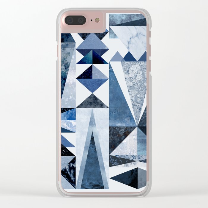 Blue Shapes Clear iPhone Case