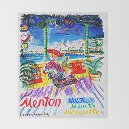 Vintage Menton France Travel Throw Blanket