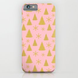 Pink and Gold Christmas Tree Pattern iPhone Case