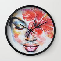 hibiscus Wall Clocks featuring Hibiscus by Maria Lozano - Art