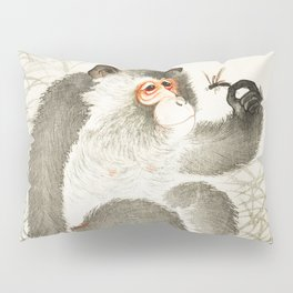 Curious Monkey and insect - Vintage Japanese Woodblock Print Art Pillow Sham