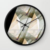 bicycles Wall Clocks featuring The bicycles by dominiquelandau